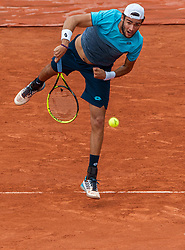 June 1, 2018 - Paris, Ile-de-France, France - Matteo Berrettini of Italy serves against Dominic Thiem of Austria during the third round at Roland Garros Grand Slam Tournament - Day 6 on June 01, 2018 in Paris, France. (Credit Image: © Robert Szaniszlo/NurPhoto via ZUMA Press)