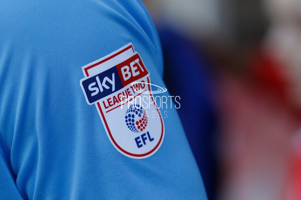 Sky Bet advertisement on one of the player's football shirt during the EFL Sky Bet League 2 match between Crawley Town and Coventry City at the Checkatrade.com Stadium, Crawley, England on 14 April 2018. Picture by Andy Walter.