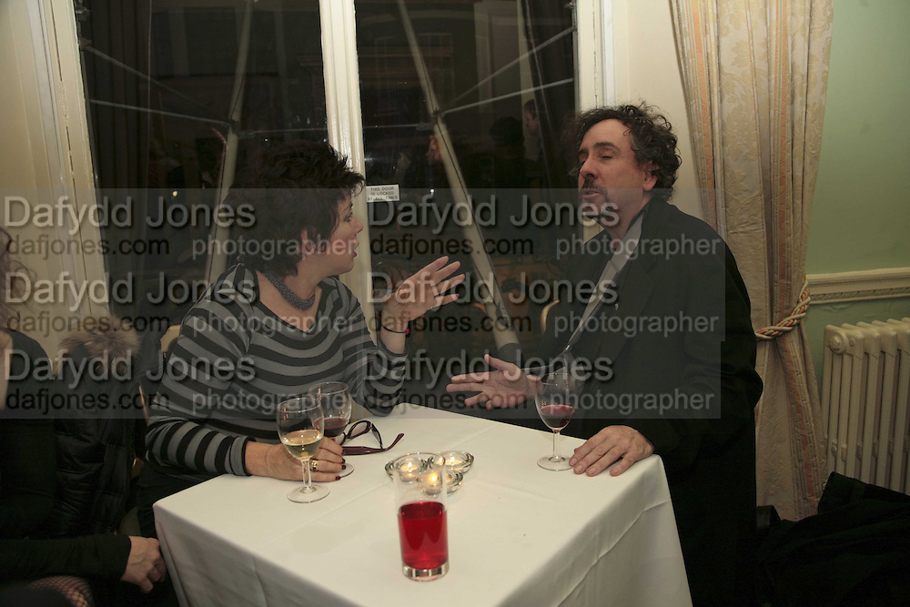 RUBY WAX AND TIM BURTON, PARTY AT DARTMOUTH HOUSE AFTER A PREMIERE SCREENING OF PERFUME AT THE CURZON. LONDON.<br />