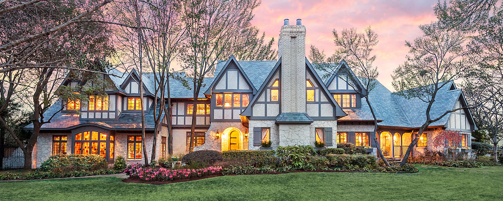 Large Tudor home exterior, Dallas, Texas