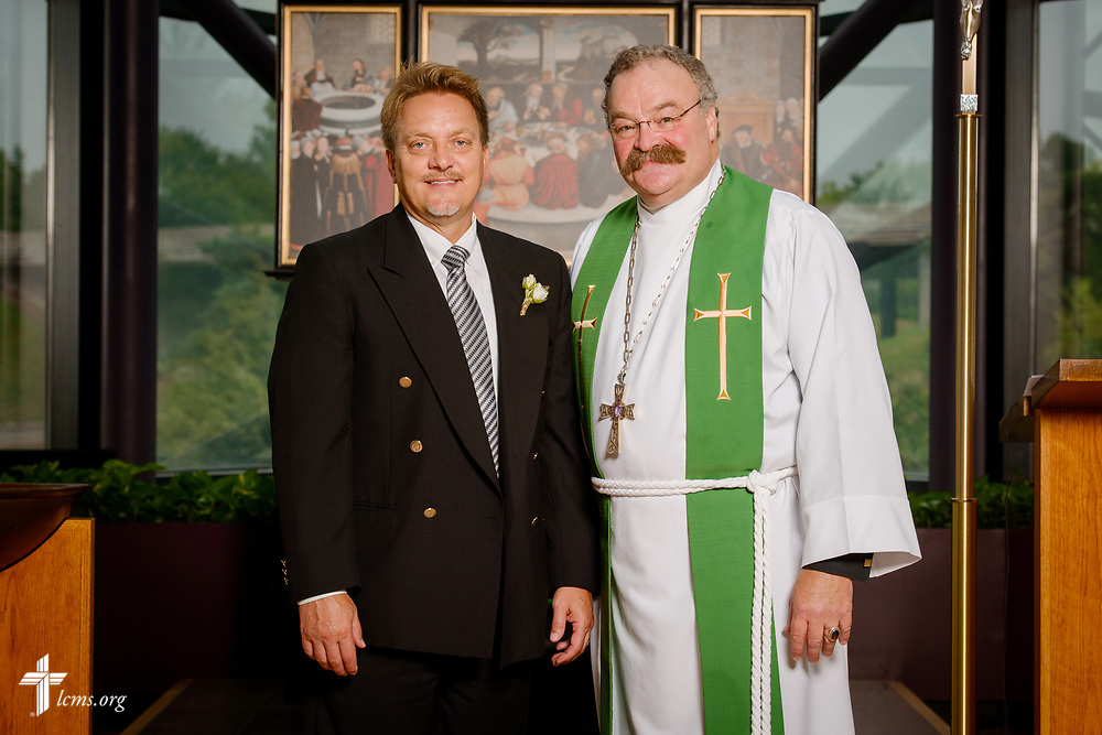 Group photograph of the Rev. Dr. Gregory P. Seltz, executive director of the Lutheran Center for Religious Liberty, and the Rev. Dr. Matthew Harrison, LCMS president, at the International Center of The Lutheran Church–Missouri Synod on Tuesday, Aug. 22, 2017, in St. Louis. LCMS Communications/Erik M. Lunsford