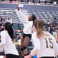 2nd year outside hitter Diana Lumbala (9) of the Regina Cougars during the home game on January 6 at Centre for Kinesiology, Health and Sport. Credit: Arthur Ward/Arthur Images