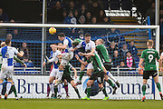 Bristol Rovers Midfielder, Ollie Clarke (8) heads in the opening goal 1-0 during the EFL Sky Bet League 1 match between Bristol Rovers and Scunthorpe United at the Memorial Stadium, Bristol, England on 25 February 2017. Photo by Adam Rivers.