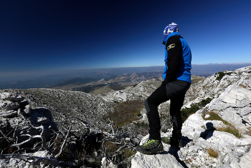 Kenan Muftic on the summit of Sinjal, 1831m, on Dinara mountain, the highest peak Croatia.