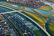 Nederland, Zuid-Holland, Charlois, 07-02-2018; A15 met geluidsscherm ter hoogte van verzorgingsplaats Rhoon.<br /> A15 with noise barrier.<br /> <br /> luchtfoto (toeslag op standard tarieven);<br /> aerial photo (additional fee required);<br /> copyright foto/photo Siebe Swart