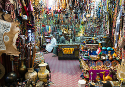 View of shop in  Mutrah Souk in Muscat Oman Middle East