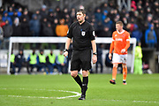 Referee Brett Huxtable during the EFL Sky Bet League 1 match between Bristol Rovers and Blackpool at the Memorial Stadium, Bristol, England on 15 February 2020.