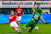 ALKMAAR - 26-02-2017, AZ - PEC Zwolle, AFAS Stadion, 1-1, debuut, AZ speler Jonas Svensson, PEC Zwolle speler Ouasim Bouy.