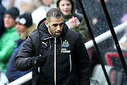 Islam Slimani (#13) of Newcastle United takes his place on the bench ahead of the Premier League match between Newcastle United and Huddersfield Town at St. James's Park, Newcastle, England on 31 March 2018. Picture by Craig Doyle.