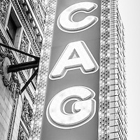 Chicago Theatre sign vertical black and white panorama picture. Panorama picture ratio is 1:3 and has a  retro vintage tone. The Chicago Theatre was built in 1921 on State Street in downtown Chicago. The theater is a very popular Chicago attraction and now serves as a venue for concerts, plays, and other live performances.