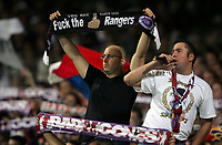 Photo: Paul Thomas.<br /> Lyon v Rangers. UEFA Champions League, Group E. 02/10/2007.<br /> <br /> Lyon fans aren't too happy.