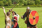 Kalygulina, Freyja Shieldmaiden and Ragnar in a battle scene at the Dragonslayer shoot.