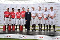 Left to right, KARAN THAPAR, ROBBIE ARCHIBALD, NACHO GONZALEZ, SPENCER McCARTHY, MARTIN SANDER, HRH THE DUKE OF CAMBRIDGE, LUKE TOMLINSON, MARK TOMLINSON and HRH PRINCE HARRY OF WALES  at the Audi Polo Challenge 2013 at Coworth Park Polo Club, Berkshire on 3rd August 2013.