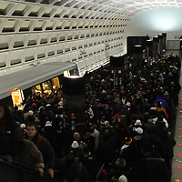 Passengers disembark from a Washington Metro train at 5:35AM at a Metro stop near the Capital for the swearing in of Barack Obama as the 44th President of the United States of America during his Inauguration Ceremony on Capitol Hill in Washington on January 20, 2009.    (Mark Goldman/ Goldmine Photos)