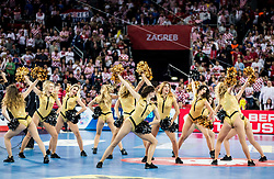 Cheerleaders perform during handball match between National teams of Croatia and France on Day 7 in Main Round of Men's EHF EURO 2018, on January 24, 2018 in Arena Zagreb, Zagreb, Croatia.  Photo by Vid Ponikvar / Sportida