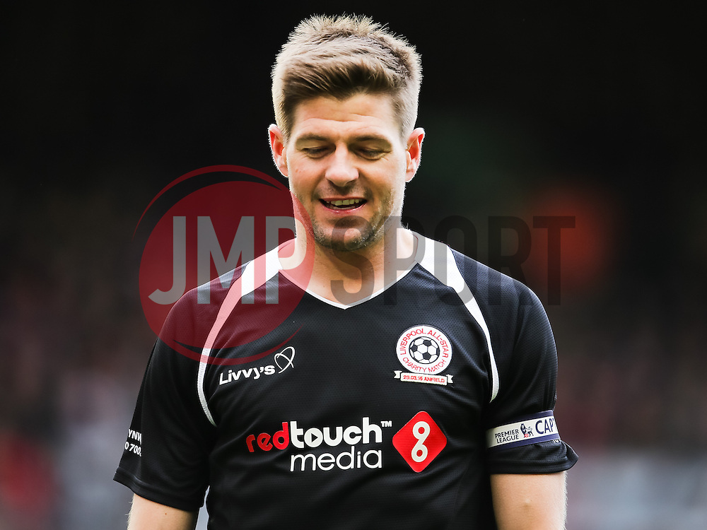 Steven Gerrard in action - mandatory by-line: Matt McNulty/JMP - Mobile: 07966 386802 - 29/03/2015 - SPORT - Football - Liverpool - Anfield Stadium - Gerrard's Squad v Carragher's Squad - Liverpool FC All stars Game