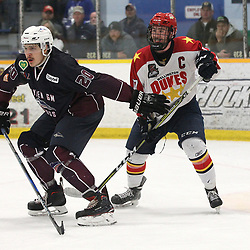 DRYDEN, ON - MAY 1: Dakotah Woods #20 of the Dryden GM Ice Dogs battles for position with Colin Doyle #17 of the Wellington Dukes during Game Two of the Central Canadian Junior Championship during the 2018 Dudley Hewitt Cup on May 1, 2018 at the Dryden Memorial Arena in Dryden, Ontario, Canada. (Photo by Tim Bates/DHC via OJHL Images)