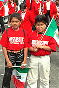 Classmates age 11 celebrating in Cinco de Mayo parade.  St Paul Minnesota USA