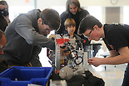 John Ferres (l) and Dmitri Brachos, of North Andover, compete in the Dover-Sherborn High School robotics competition, held at the Chickering School in Dover, Jan. 25, 2014.<br /> Wicked Local staff photo/Kate Flock