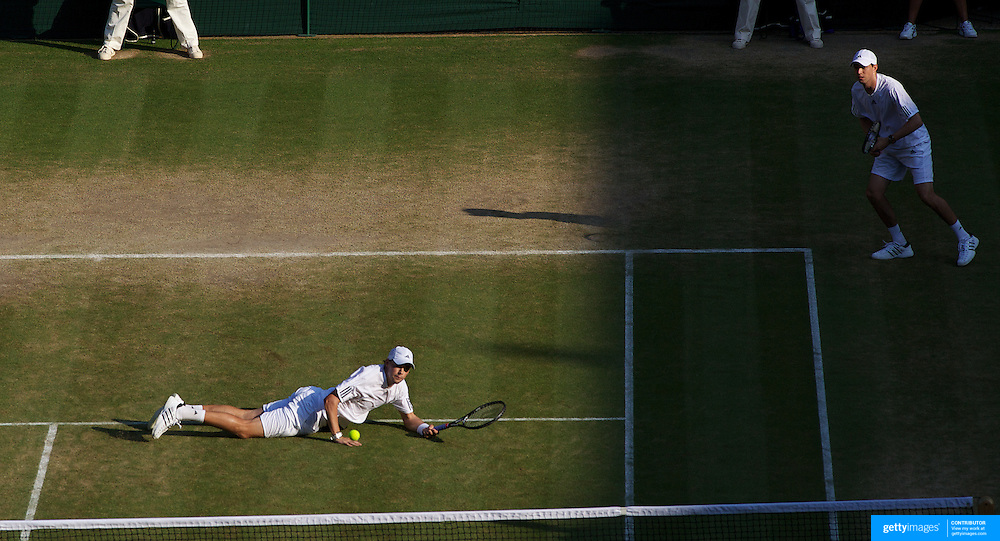 Bob Bryan, USA, and Mike Bryan, USA, in action against Bruno Soares, Brazil, and Kevin Ullyett, Zimbabwe during the Men's Doubles Competition at the All England Lawn Tennis Championships at Wimbledon, London, England on Tuesday, June 30, 2009. Photo Tim Clayton..