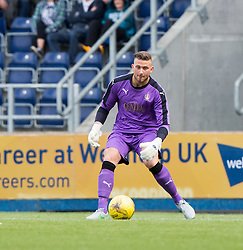 Falkirk's keeper Danny Rogers. Falkirk 3 v 1 East Fife, Petrofac Training Cup played 25th July 2015 at The Falkirk Stadium.