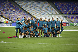 May 25, 2018 - Kiev, Ukraine - Real Madrid players pose for a picture during their training session for UEFA Champions League Final against Liverpool FC at NSC Olimpiyskyi in Kyiv, Ukraine, May 25, 2018. UEFA Champions League Final  (Credit Image: © Sergii Kharchenko/NurPhoto via ZUMA Press)