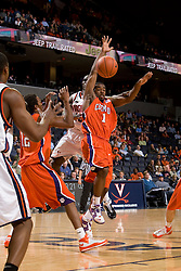Clemson guard/forward K.C. Rivers (1) grabs a rebound against Virginia. The Virginia Cavaliers men's basketball team fell the Clemson Tigers at 82-51 the John Paul Jones Arena in Charlottesville, VA on February 7, 2008.