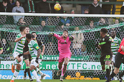 Forest Green Rovers goalkeeper Robert Sanchez(1) throws the ball out during the EFL Sky Bet League 2 match between Yeovil Town and Forest Green Rovers at Huish Park, Yeovil, England on 8 December 2018.