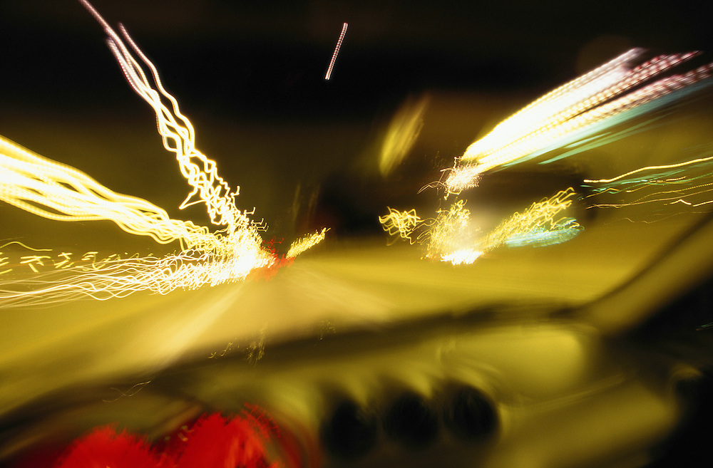 Driving on highway (blurred motion), view from inside car