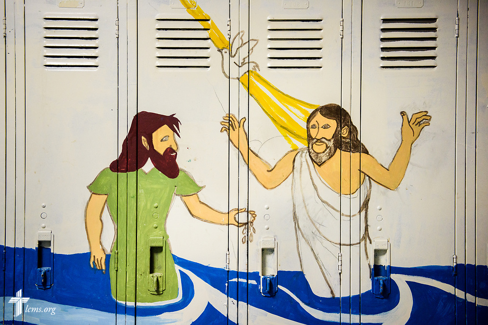 A painted mural of the baptism of Jesus at Ascension Lutheran School on Wednesday, April 5, 2017, in Gary, Ind. LCMS Communications/Erik M. Lunsford