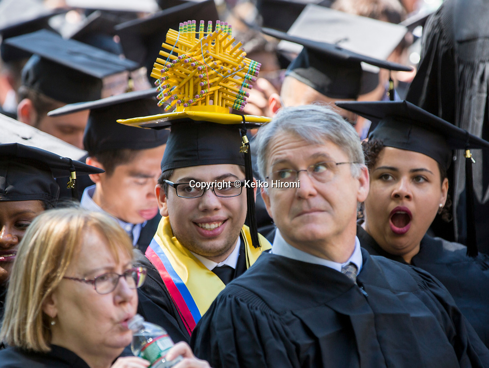 June 9, 2017,  Massachusetts Institute of Technology, Cambridge, Massachusetts: Graduate student Nicolas Gomez wears a cap decorated with a structure made of pencils at  Massachusetts Institute of Technology Commencement Exercises at Massachusetts Institute of Technology  in Cambridge.