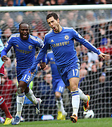 EDEN HAZARD CELEBRATES GOAL WITH VICTOR MOSES.CHELSEA V WEST HAM UNITED.CHELSEA V WEST HAM UNITED. BARCLAYS PREMIER LEAGUE.STAMFORD BRIDGE, LONDON, ENGLAND, UK.17 March 2013.GAQ66789..  .WARNING! This Photograph May Only Be Used For Newspaper And/Or Magazine Editorial Purposes..May Not Be Used For Publications Involving 1 player, 1 Club Or 1 Competition .Without Written Authorisation From Football DataCo Ltd..For Any Queries, Please Contact Football DataCo Ltd on +44 (0) 207 864 9121