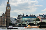 'HippopoThames' passes The Houses of Parliament- a 21-metre-long hippo sculpture, by Dutch artist Florentijn Hofman (best known for his Rubber Duck installation) is towed upriver to Nine Elms on the South Bank. It is his first UK commission Stepped access to the foreshore, near St George's Tower,  will be available for three hours a day at low tide throughout September.