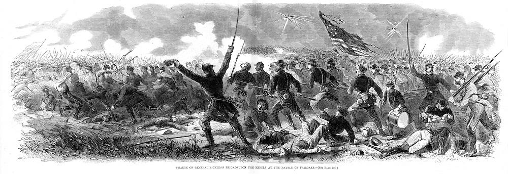 Civil War 1862 Top: Union troops on the Pamunkey River, Virgina.Bottom: Battle of Fair Oaks, Virginia..Harper's Weekly, June. 21, 1862.Page 393-394