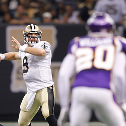 September 9, 2010; New Orleans, LA, USA; New Orleans Saints quarterback Drew Brees (9) passes against the Minnesota Vikings during first half of the NFL Kickoff season opener at the Louisiana Superdome. Mandatory Credit: Derick E. Hingle