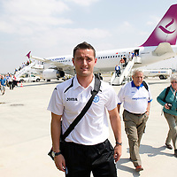 St Johnstone v Eskisehirspor....18.07.12  Uefa Cup Qualifyer<br /> Keeper Jonny Tuffey makes his way into the airport after arriving at Eskishir airport<br /> Picture by Graeme Hart.<br /> Copyright Perthshire Picture Agency<br /> Tel: 01738 623350  Mobile: 07990 594431
