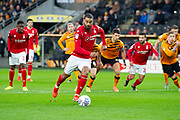 Celebrates Lewis Grabban of Nottingham Forest scores a goal from the penalty spot 0-1 during the EFL Sky Bet Championship match between Hull City and Nottingham Forest at the KCOM Stadium, Kingston upon Hull, England on 26 December 2019.