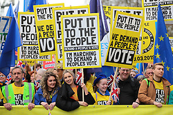 "© Licensed to London News Pictures. 23/03/2019. London, UK. Thousands march through central London to demand that government allow a ""People's Vote"" on the Brexit deal. Several key votes will be held in Parliament in the coming week. Photo credit: Rob Pinney/LNP"