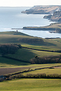 The Clavell Tower standing above Kimmeridge Bay on the Isle of Purbeck, Dorset, UK