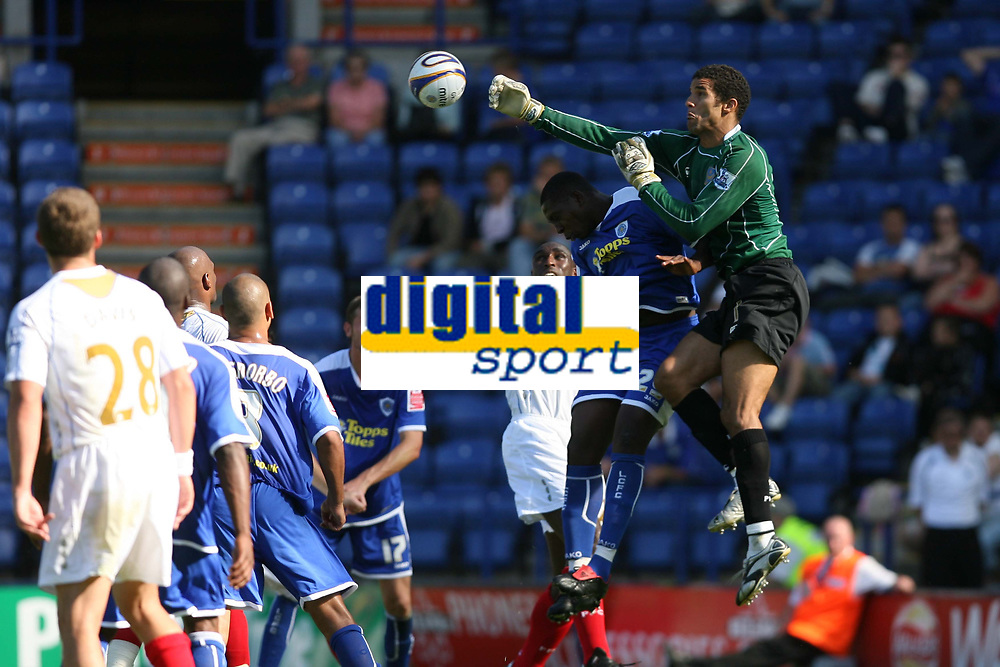 Photo: Pete Lorence.<br />Leicester City v Portsmouth. Pre Season Friendly. 04/08/2007.<br />David James clears the ball.