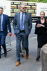 © Licensed to London News Pictures. 22/08/2019. London, UK. John Leslie (centre) arrives at Southwark Crown Court. The former BBC Blue Peter presenter is expected to enter a plea in connection with a charge of sexual assault dating from 2008. Photo credit: George Cracknell Wright/LNP