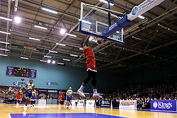 Justin Gray of Bristol Flyers slam dunks - Mandatory by-line: Robbie Stephenson/JMP - 05/10/2018 - BASKETBALL - University of Worcester Arena - Worcester, England - Bristol Flyers v Worcester Wolves - British Basketball League
