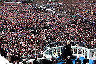 Donald Trump speaks  to Inaugural crowd after he takes the oath of office for the presidency of the United States on January 20,2017<br /> <br /> Photo by Dennis Brack