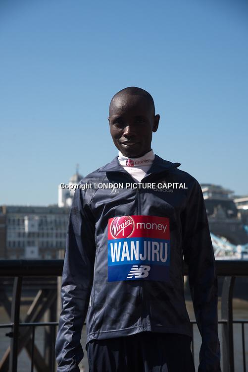 Elite meDaniel Wanjiru - Elite men photocall - Virgin Money London Marathon at Tower Hill on 19 April 2018, London, UK. photocall - Virgin Money London Marathon, London, UK