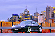 2000 Porsche 996 Turbo - Black.Docklands, Melbourne.16th September 2009.(C) Joel Strickland Photographics.Use information: This image is intended for Editorial use only (e.g. news or commentary, print or electronic). Any commercial or promotional use requires additional clearance.