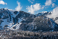 Highland Bowl in the distance, with Aspen Mountain in the foreground, in Aspen, Colorado in winter.