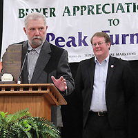 Adam Robison | BUY AT PHOTOS.DJOURNAL.COM<br /> Ron Greeno, owner of Peak Furniture, received the National Buyer apperication Award from the Tupelo Furniture Market THursday night in Tupelo.