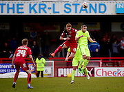 Crawley Town Forward Matt Harrold (18) wins the header during the Sky Bet League 2 match between Crawley Town and Hartlepool United at the Checkatrade.com Stadium, Crawley, England on 19 March 2016. Photo by Jon Bromley.