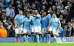 Manchester City captain, Vincent Company celebrates after scoring the opening goal during the UEFA Champions League group stage match between Manchester City and Juventus at the Etihad Stadium - Mandatory byline: Matt McNulty/JMP - 07966386802 - 15/09/2015 - FOOTBALL - Etihad Stadium -Manchester,England - Manchester City v Juventus - UEFA Champions League - Group D