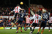 John Egan defends deep in the Newcastle attacking area during the EFL Sky Bet Championship match between Brentford and Newcastle United at Griffin Park, London, England on 14 January 2017. Photo by Jarrod Moore.
